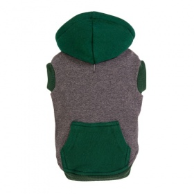 Grey and Green Zip Dog Hoodie