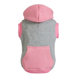 Grey and Pink Zip Dog Hoodie